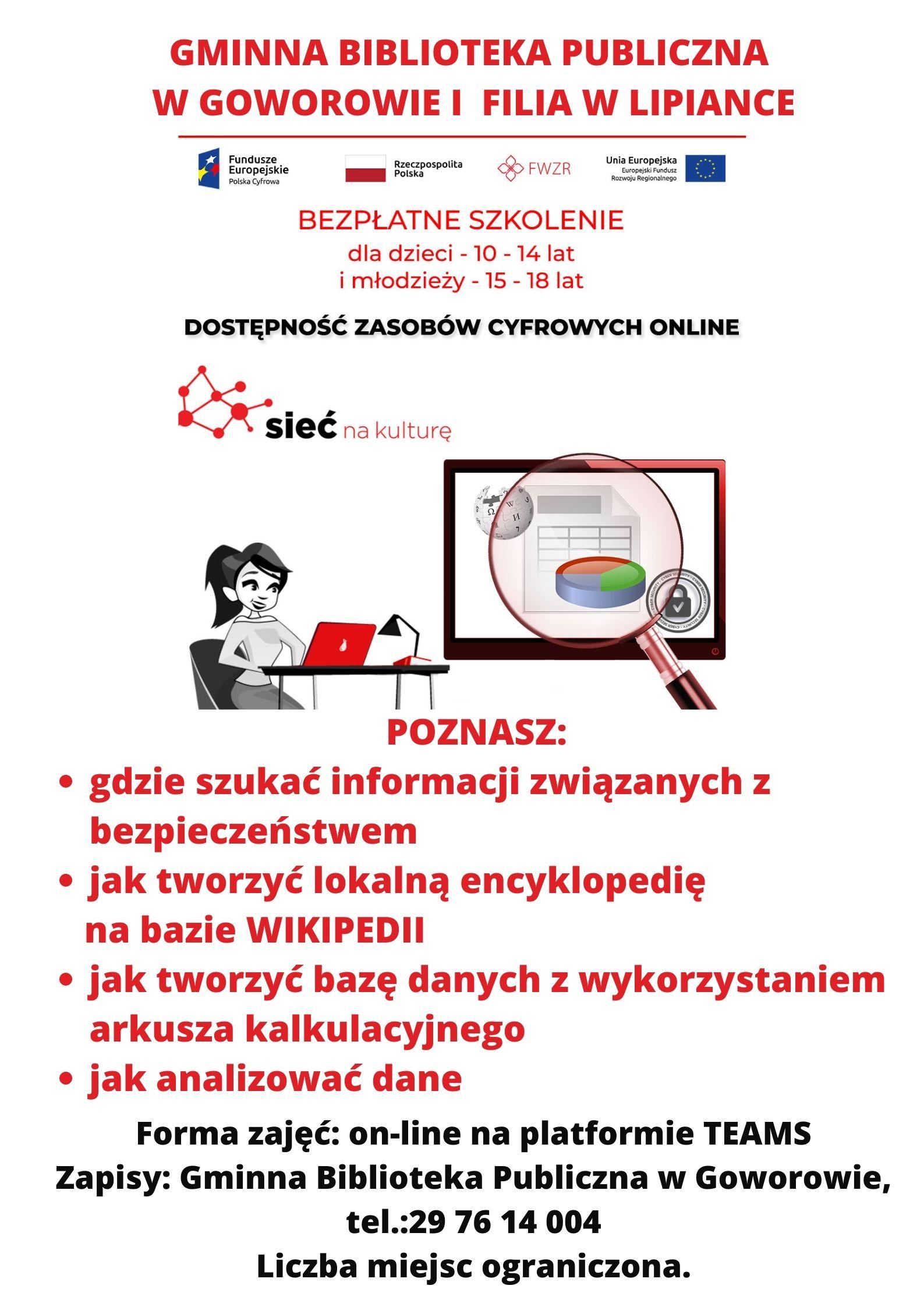 Plakat - szkolenie bezpłatne dla dzieci i młodzieży Dostepność zasobów cyfrowych online