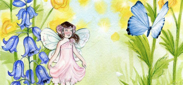 Ilustracja: Wróżka na łące z motylkiem