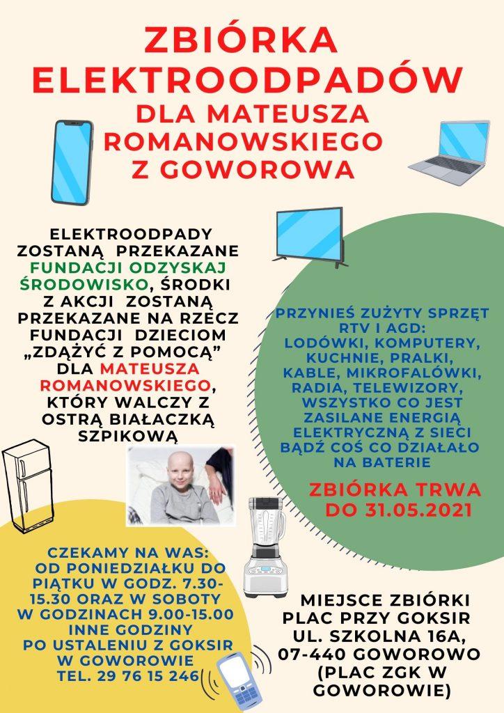 Zbiórka elektroodpadów dla Mateusza Romanowskiego z Goworowa